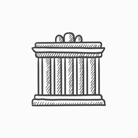 athens: Acropolis of Athens vector sketch icon isolated on background. Hand drawn Acropolis of Athens icon. Acropolis of Athens sketch icon for infographic, website or app. Illustration