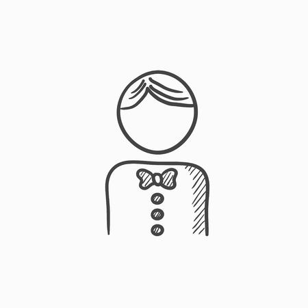Kellner Vektor Skizze Symbol auf Hintergrund isoliert. Hand Kellner-Symbol gezogen. Kellner Skizze Symbol für Infografik, die Website oder App. Vektorgrafik