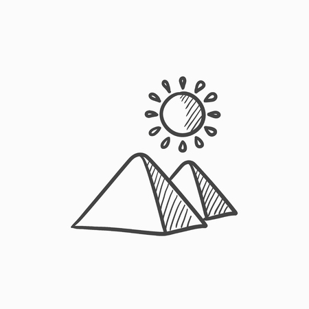 Egyptian pyramids vector sketch icon isolated on background. Hand drawn Egyptian pyramids icon. Egyptian pyramids sketch icon for infographic, website or app. 向量圖像