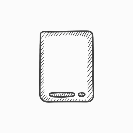 touch screen: Touch screen tablet vector sketch icon isolated on background. Hand drawn Touch screen tablet icon. Touch screen tablet sketch icon for infographic, website or app.