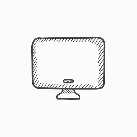 Monitor vector sketch icon isolated on background. Hand drawn Monitor icon. Monitor sketch icon for infographic, website or app. Ilustração