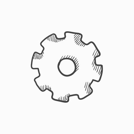Gear vector sketch icon isolated on background. Hand drawn Gear icon. Gear sketch icon for infographic, website or app. Ilustração