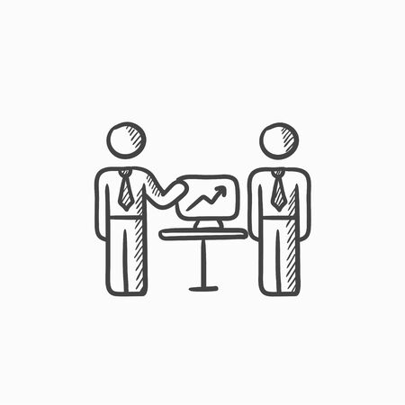 Business presentation vector sketch icon isolated on background. Hand drawn Business presentation icon. Business presentation sketch icon for infographic, website or app. Иллюстрация