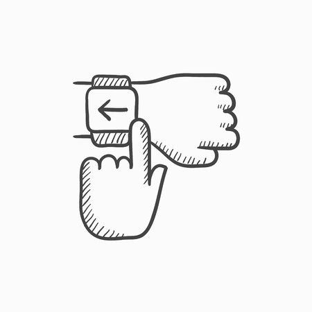 electronic device: Smartwatch vector sketch icon isolated on background. Hand drawn Smartwatch icon. Smartwatch sketch icon for infographic, website or app.