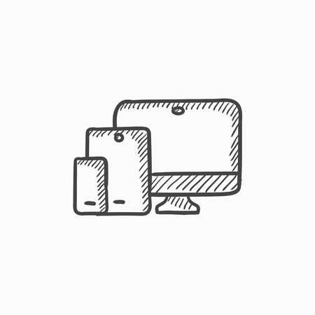 responsive: Responsive web design vector sketch icon isolated on background. Hand drawn Responsive web design icon. Responsive web design sketch icon for infographic, website or app. Illustration