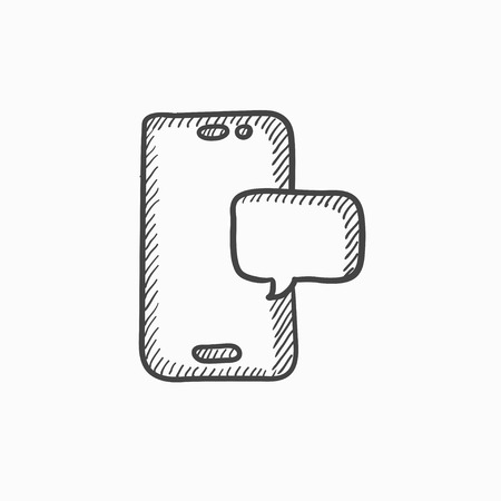 touch screen phone: Touch screen phone with message vector sketch icon isolated on background. Hand drawn Touch screen phone with message icon. Touch screen phone with message sketch icon for infographic, website or app.