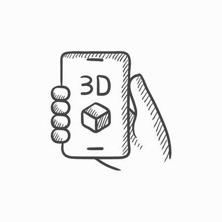 Smartphone with three D box vector sketch icon isolated on background. Hand drawn Smartphone with three D box icon. Smartphone with three D box sketch icon for infographic, website or app. Illustration