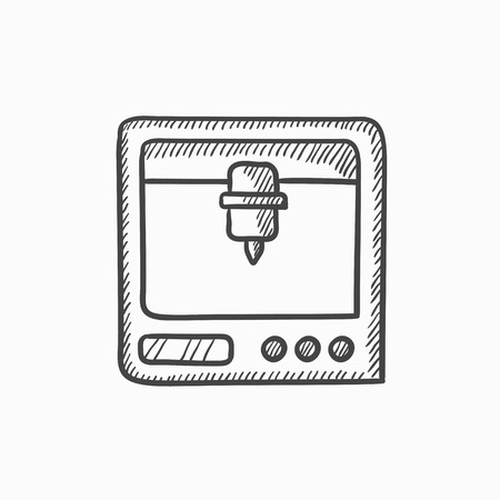 polymerization: Tree D printing vector sketch icon isolated on background. Hand drawn Tree D printing icon. Tree D printing sketch icon for infographic, website or app.