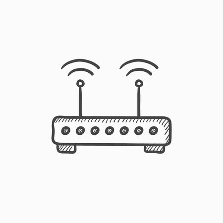 broadband: Wireless router vector sketch icon isolated on background. Hand drawn Wireless router icon. Wireless router sketch icon for infographic, website or app. Illustration