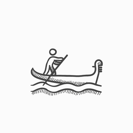 rowing boat: Sailor rowing boat vector sketch icon isolated on background. Hand drawn Sailor rowing boat icon. Sailor rowing boat sketch icon for infographic, website or app.