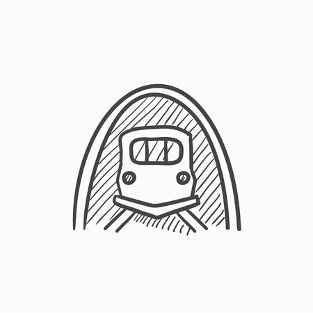 hand rails: Railway tunnel vector sketch icon isolated on background. Hand drawn Railway tunnel icon. Railway tunnel sketch icon for infographic, website or app.