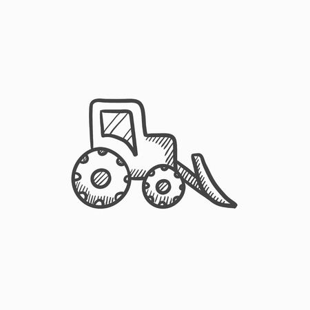 excavation: Bulldozer vector sketch icon isolated on background. Hand drawn Bulldozer icon. Bulldozer sketch icon for infographic, website or app. Illustration