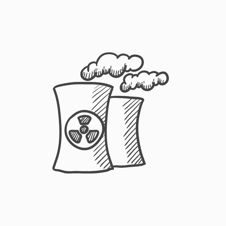 hazard damage: Nuclear power plant vector sketch icon isolated on background. Hand drawn Nuclear power plant icon. Nuclear power plant sketch icon for infographic, website or app.
