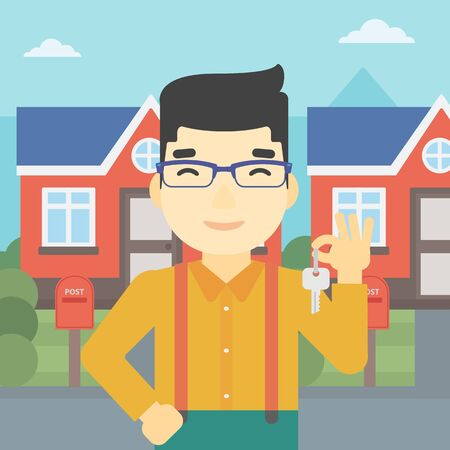 owner: An asian young male real estate agent holding key. Man with keys standing in front of the house. Happy new owner of a house. Vector flat design illustration. Square layout.