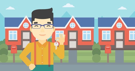 estate agent: An asian young male real estate agent holding key. Man with keys standing in front of the house. Happy new owner of a house. Vector flat design illustration. Horizontal layout.