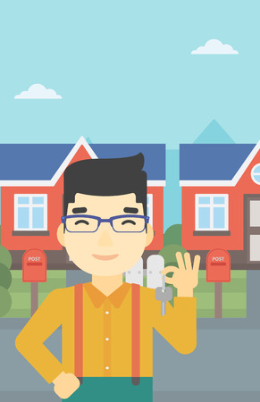 estate agent: An asian young male real estate agent holding key. Man with keys standing in front of the house. Happy new owner of a house. Vector flat design illustration. Vertical layout.