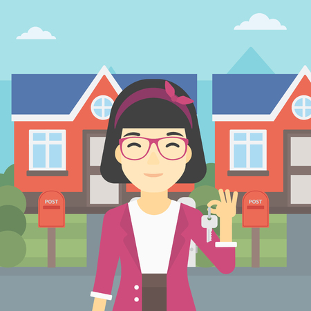 owner: An asian young female real estate agent holding key. Woman with keys standing in front of the house. Happy new owner of a house. Vector flat design illustration. Square layout.