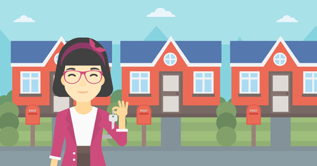 for rental: An asian young female real estate agent holding key. Woman with keys standing in front of the house. Happy new owner of a house. Vector flat design illustration. Horizontal layout.