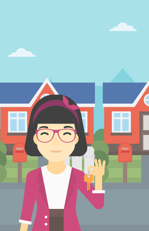 fmale: An asian young female real estate agent holding key. Woman with keys standing in front of the house. Happy new owner of a house. Vector flat design illustration. Vertical layout. Illustration