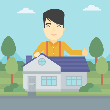 estate agent: An asian young man standing behind the house and showing thumb up. Real estate agent offering the house. Young man giving thumbs up. Vector flat design illustration. Square layout. Illustration