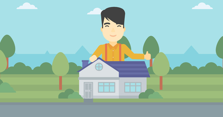 estate agent: An asian young man standing behind the house and showing thumb up. Real estate agent offering the house. Young man giving thumbs up. Vector flat design illustration. Horizontal layout.
