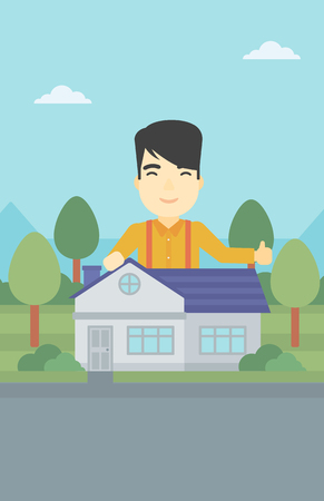 young man standing: An asian young man standing behind the house and showing thumb up. Real estate agent offering the house. Young man giving thumbs up. Vector flat design illustration. Vertical layout.