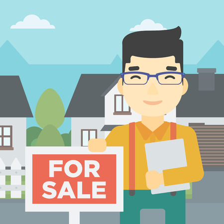broker: An asian young male real estate agent offering the house. Male broker with placard for sale and documents in hands standing in front of the house. Vector flat design illustration. Square layout.