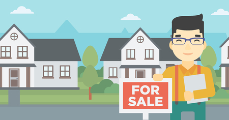 estate agent: An asian young male real estate agent offering the house. Male broker with placard for sale and documents in hands standing in front of the house. Vector flat design illustration. Horizontal layout.
