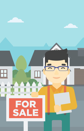 An asian young male real estate agent offering the house. Male broker with placard for sale and documents in hands standing in front of the house. Vector flat design illustration. Vertical layout.
