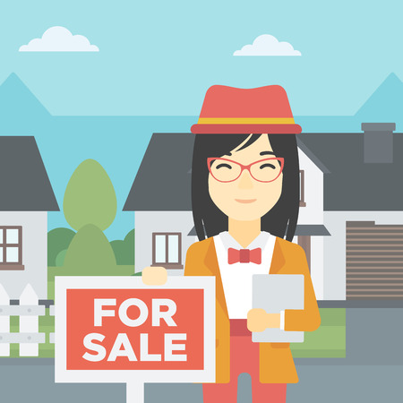 broker: An asian young female real estate agent offering the house. Female broker with placard for sale and documents in hands standing in front of the house. Vector flat design illustration. Square layout. Illustration