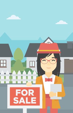 broker: An asian young female real estate agent offering the house. Female broker with placard for sale and documents in hands standing in front of the house. Vector flat design illustration. Vertical layout. Illustration