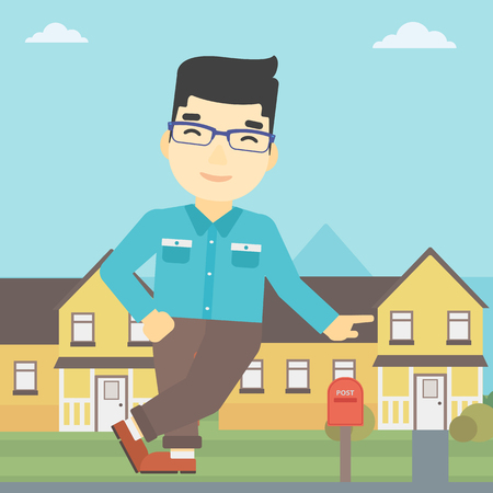 near: An asian young male real estate agent standing near the house. Real estate agent leaning on the house. Real estate agent offering house. Vector flat design illustration. Square layout.