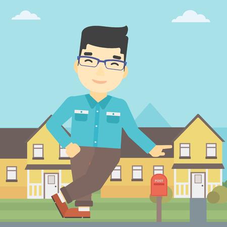 Un agente de sexo masculino joven asiático bienes raíces de pie cerca de la casa. Agente de bienes raíces que se inclina en la casa. Agente de bienes raíces que ofrece la casa. Vector de diseño plano ilustración. de planta cuadrada.