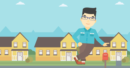 estate agent: An asian young male real estate agent standing near the house. Real estate agent leaning on the house. Real estate agent offering house. Vector flat design illustration. Horizontal layout.