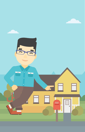An asian young male real estate agent standing near the house. Real estate agent leaning on the house. Real estate agent offering house. Vector flat design illustration. Vertical layout. Illustration