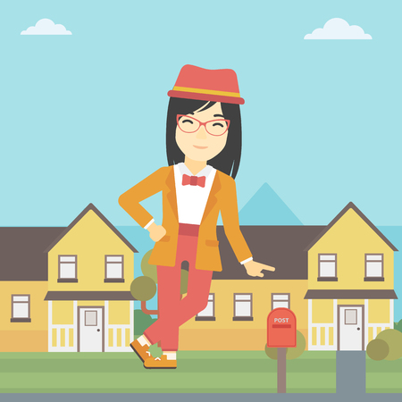 An asian young female real estate agent standing near the house. Real estate agent leaning on the house. Real estate agent offering house. Vector flat design illustration. Square layout.