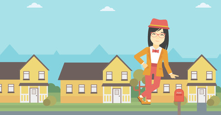 An asian young female real estate agent standing near the house. Real estate agent leaning on the house. Real estate agent offering house. Vector flat design illustration. Horizontal layout.