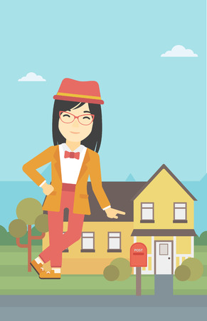 An asian young female real estate agent standing near the house. Real estate agent leaning on the house. Real estate agent offering house. Vector flat design illustration. Vertical layout. Illustration