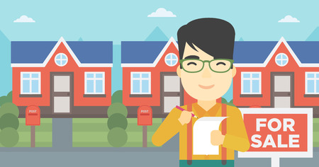 renting: An asian young male real estate agent signing contract. Real estate agent standing in front of the house with placard for sale. Vector flat design illustration. Horizontal layout.