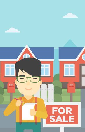 signing: An asian young male real estate agent signing contract. Real estate agent standing in front of the house with placard for sale. Vector flat design illustration. Vertical layout.