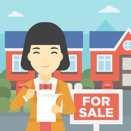 signing agent: An asian young female real estate agent signing a contract. Young real estate agent standing in front of the house with placard for sale. Vector flat design illustration. Square layout.
