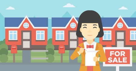 agency agreement: An asian young female real estate agent signing a contract. Young real estate agent standing in front of the house with placard for sale. Vector flat design illustration. Horizontal layout.