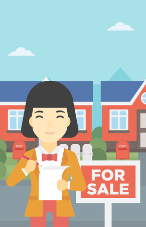 signing agent: An asian young female real estate agent signing a contract. Young real estate agent standing in front of the house with placard for sale. Vector flat design illustration. Vertical layout. Illustration