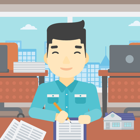 signing: An asian male real estate agent signing a contract. Young real estate agent sitting at workplace in office with a house model on the table. Vector flat design illustration. Square layout.