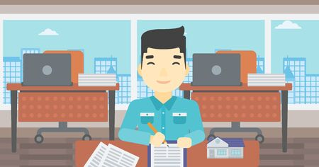 signing: An asian male real estate agent signing a contract. Young real estate agent sitting at workplace in office with a house model on the table. Vector flat design illustration. Horizontal layout.