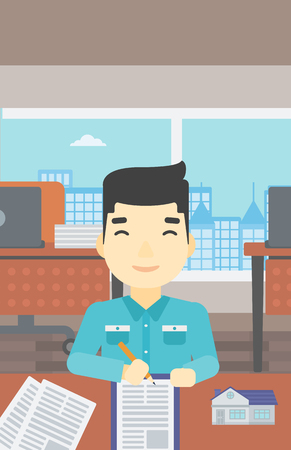 signing agent: An asian male real estate agent signing a contract. Young real estate agent sitting at workplace in office with a house model on the table. Vector flat design illustration. Vertical layout.