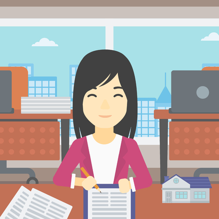 estate agent: An asian female real estate agent signing a contract. Real estate agent sitting at workplace in office with a house model on the table. Vector flat design illustration. Square layout. Illustration