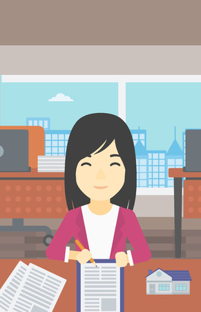signing agent: An asian female real estate agent signing a contract. Real estate agent sitting at workplace in office with a house model on the table. Vector flat design illustration. Vertical layout.