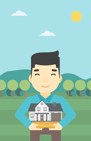 estate agent: An asian young man holding house model in hands on the background of mountains. Real estate agent with house model. Vector flat design illustration. Vertical layout. Illustration