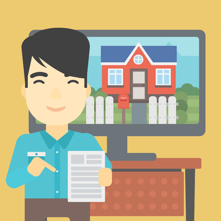photo real: An asian man standing in front of tv screen with house photo on it and pointing at a real estate contract. Concept of signing of real estate contract. Vector flat design illustration. Square layout.
